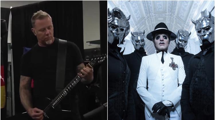 ghost metallica, James Hetfield screenshot via YouTube; Ghost photo by Mikael Eriksson