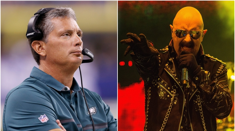 eagles jim schwartz judas priest rob halford, Joe Robbins/Getty Images; Mat Hayward/FilmMagic