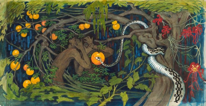 Tyra Kleen, Forbidden fruit, 1915, watercolor, 40 x 70 cm, Studio Lindblad